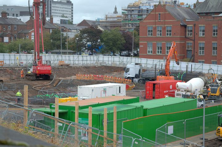 Building work ongoing off the Adelphi roundabout on a new UCLan building Pic: Tony Worrall