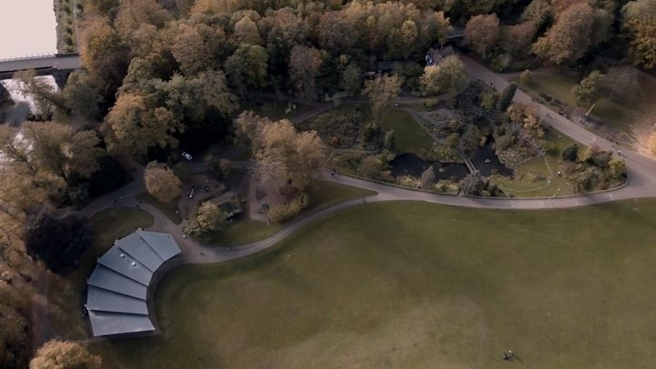 An aerial view of Avenham Park and the pavilion