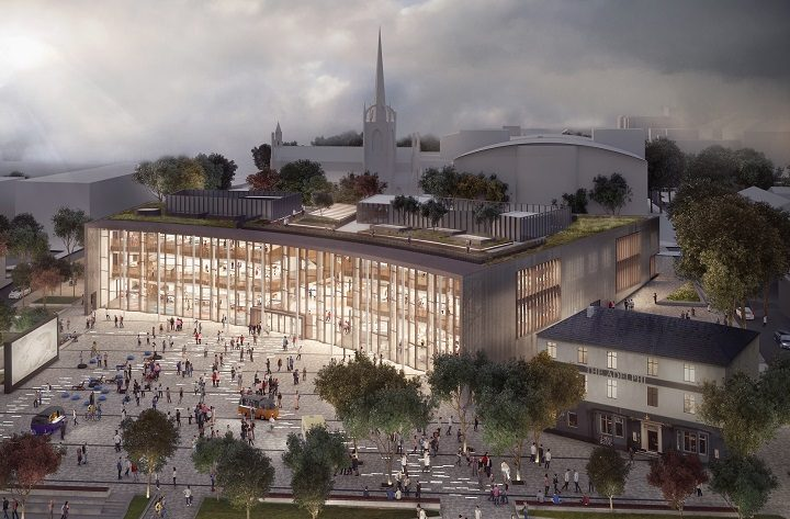 An aerial view of the proposed Adelphi Square and new student centre