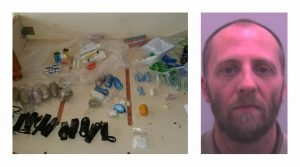 Simon Davies and some of the drugs found