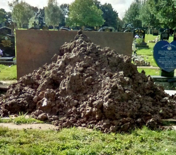 The family arrived to find this scene at the grave in Preston Cemetery