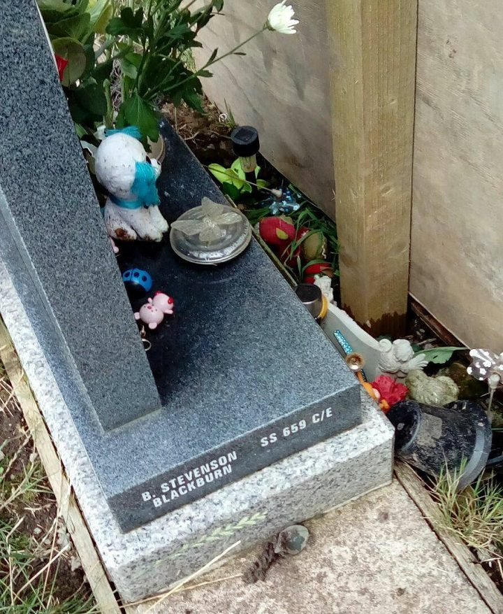 The wooden fencing panel was put up near the grave