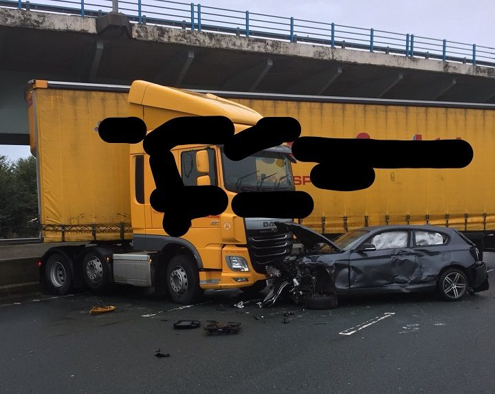 Picture released by Lancashire Police showing the damage to the car and lorry Pic: LancsRoadPolice