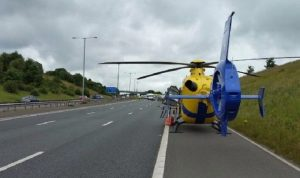 Air ambulance on the M65