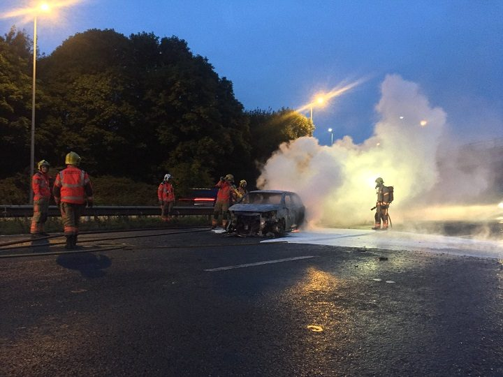 The scene on the M6 during Wednesday morning as firefighters put out the fire Pic: LancsRoadPolice