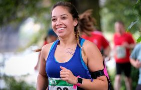A smiling runner doing the Preston 10k Pic: Paul Melling
