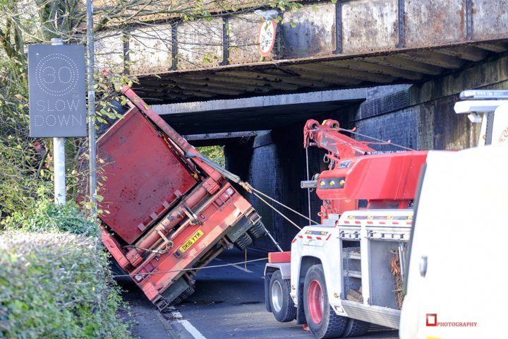 The truck being towed Pic: Paul Melling
