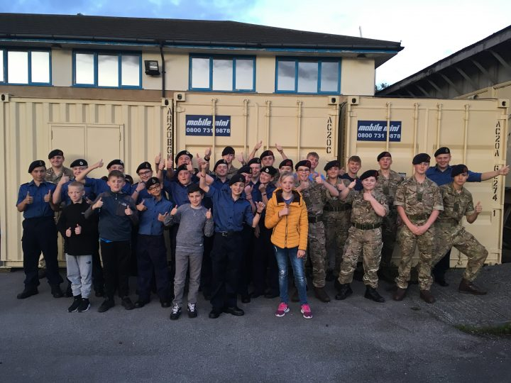 Preston Sea Cadets with the containers that were donated