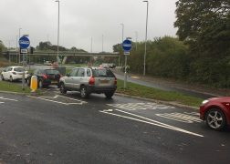 Cars seen using the new bus lane at Broughton Pic: Les Green