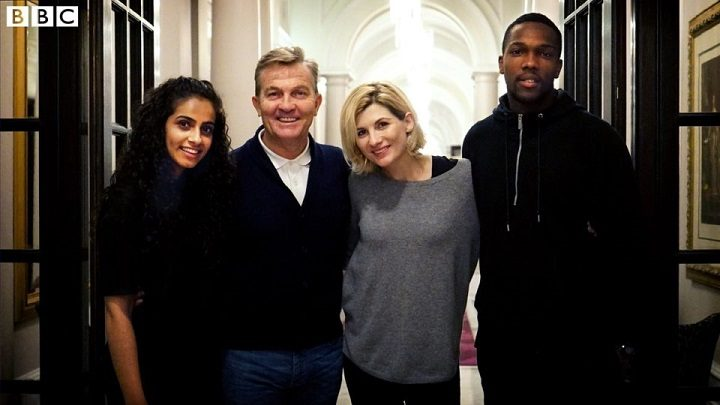 Mandip, left, and the new cast of Dr Who