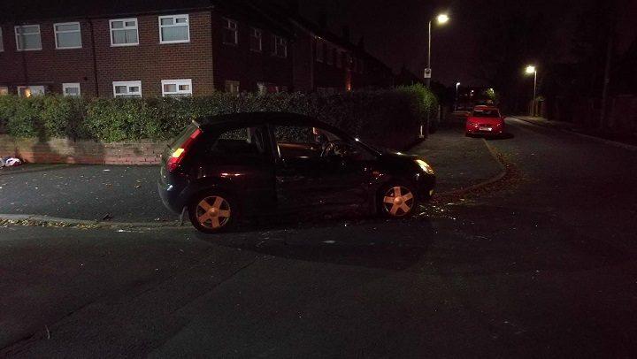 The black Ford vehicle damaged Pic: Benny Mc'Nally