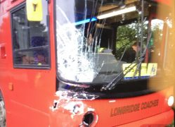 Damage to the front of the coach which was being used as a school bus