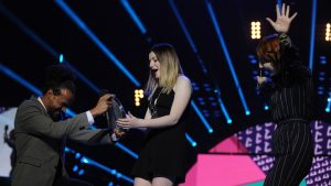 Charlotte on stage at the Radio 1 Teen Awards