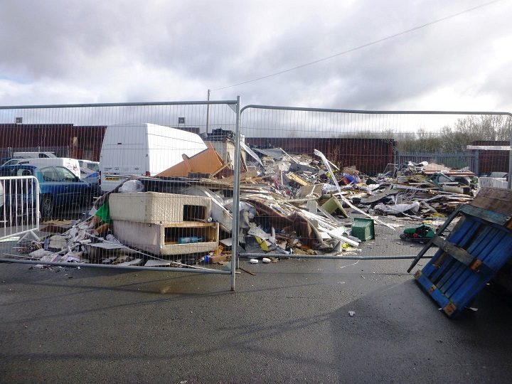 The waste site was operating without a licence