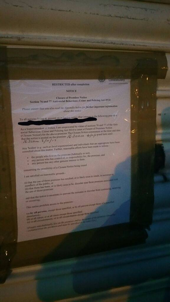 Closure order pinned in Manchester Road Pic: Preston Police