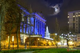 Christmas Tree lit up on the balcony Pic: Paul Melling