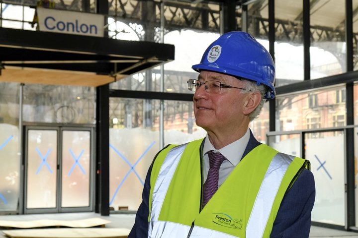 Peter Rankin pictured during building work in the new Preston Market Hall