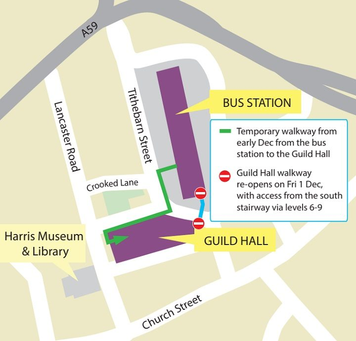 Route advised by the county council between Bus Station and Guild Hall