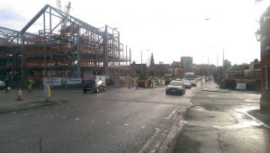 Highways workers at the busy Moor Lane/Garstang Road junction on Monday