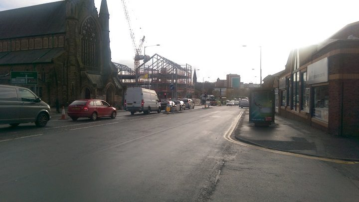 Traffic queuing as lane closed heading towards the city centre