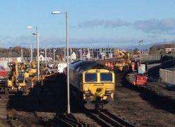 Work on the line at Blackpool North heading towards Preston