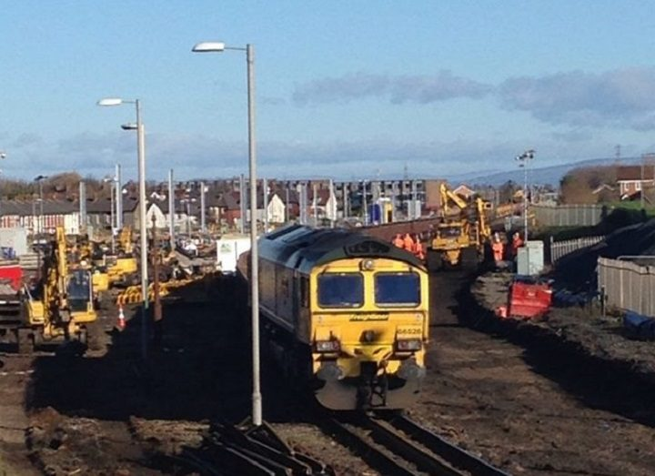 Work on the line at Blackpool North heading towards Preston