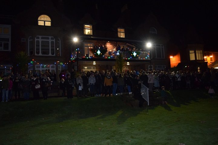 Crowds gathered for the lights switch on