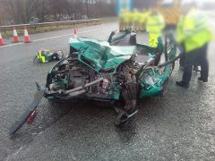 What remained of the car involved in the crash near Junction 8 of the M61 Pic: NW Motorway Police