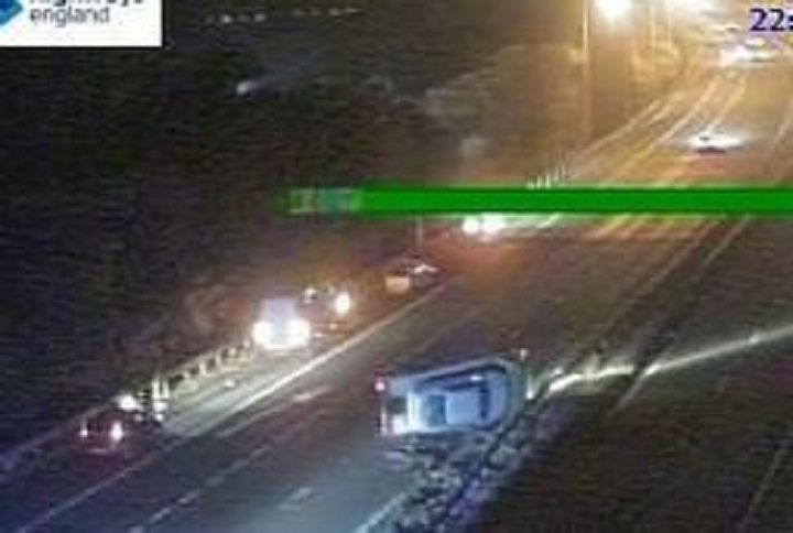 The scene on the M61 following the crash Pic: Highways England