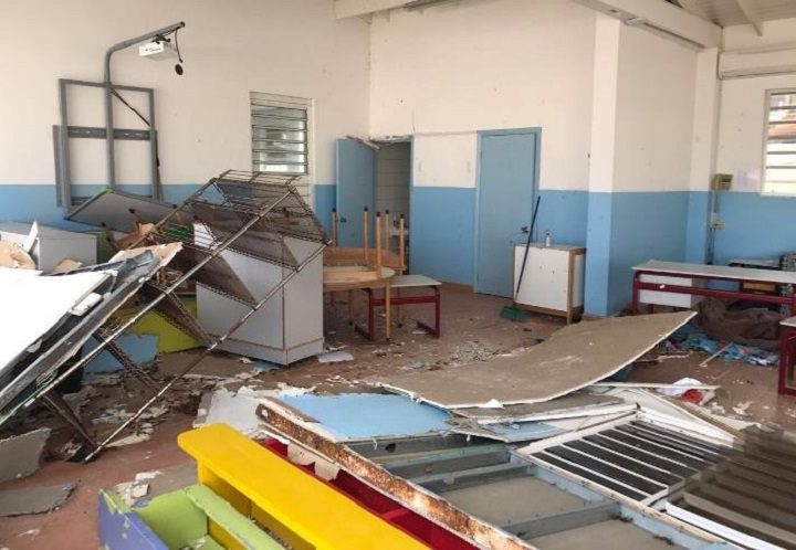 Damage to a school in Saint Marteen after Hurricane Irma