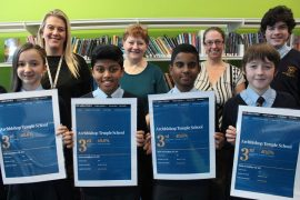 Staff and pupils at Archbishop mark the achievement