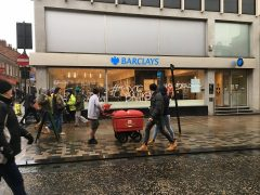 The protest outside Barclays Pic: Antony Lloyd