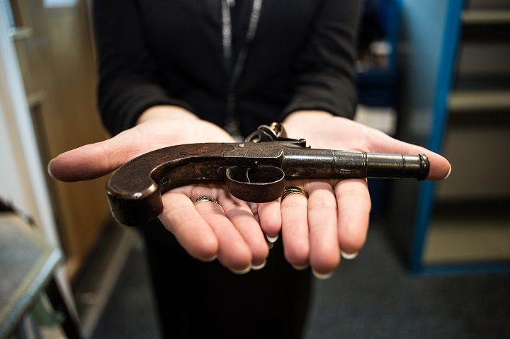A black powder gun handed in
