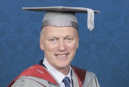 David Moyes with his cap and gown