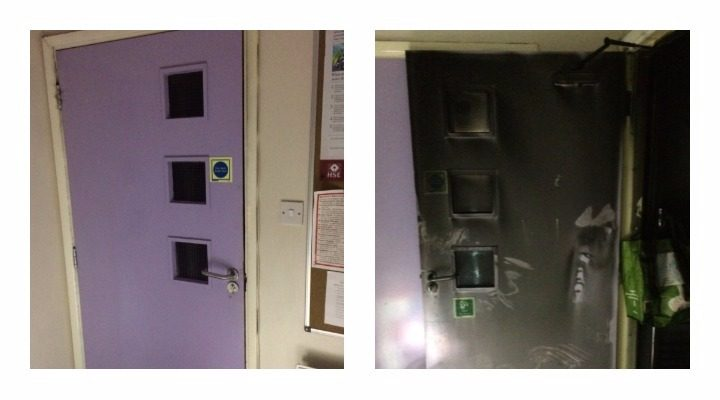 The damage to the fire door in the block of student flats