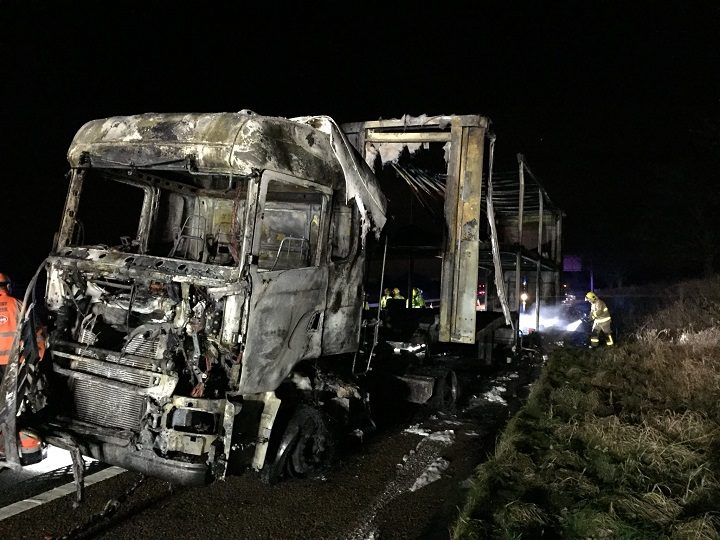 All that remains of the lorry after the fire Pic: LancsRoadPolice