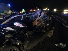 One of the vehicles in the aftermath of the crash Pic: LancsRoadPolice