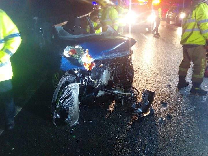 Police released this picture of one of the vehicles after the crash on the M65 Pic: LancsRoadPolice