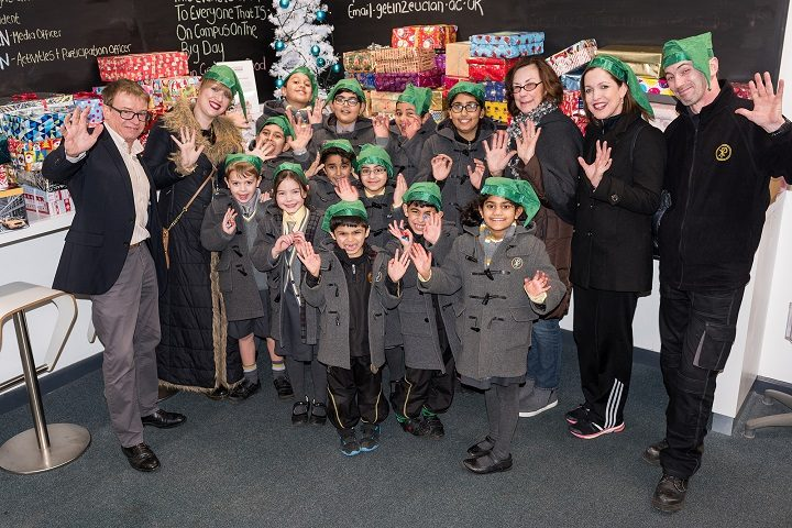 St Pius pupils and staff mark handing in the shoeboxes