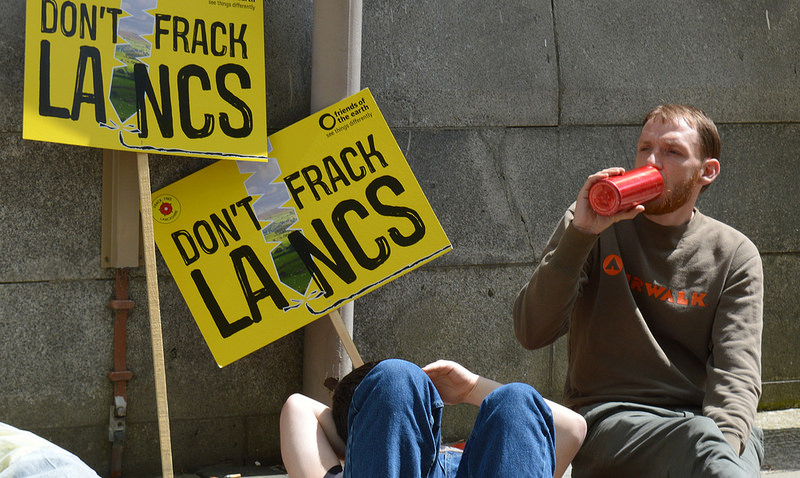 An anti-fracking campaigner in Preston Pic: Tony Worrall