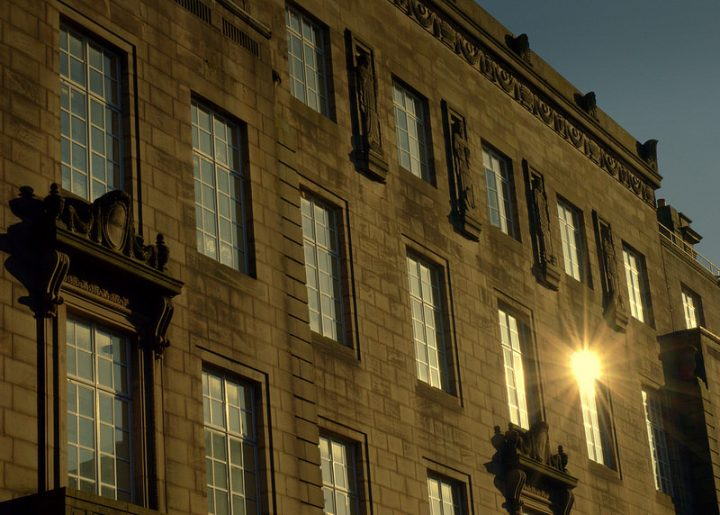 A glimmer on the windows of Preston Town Hall Pic: Tony Worrall