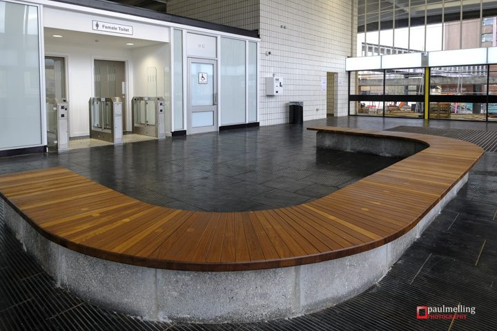 One of the seating areas in the Bus Station