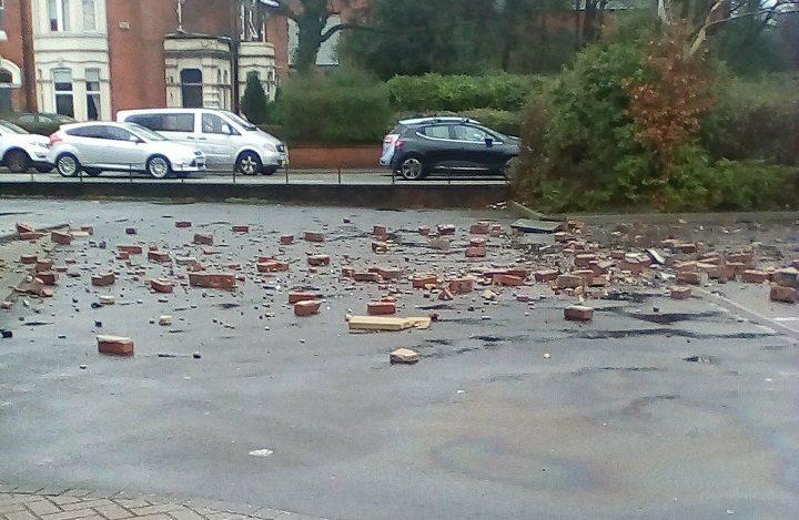 Bricks scattered across the RBS car park towards Garstang Road