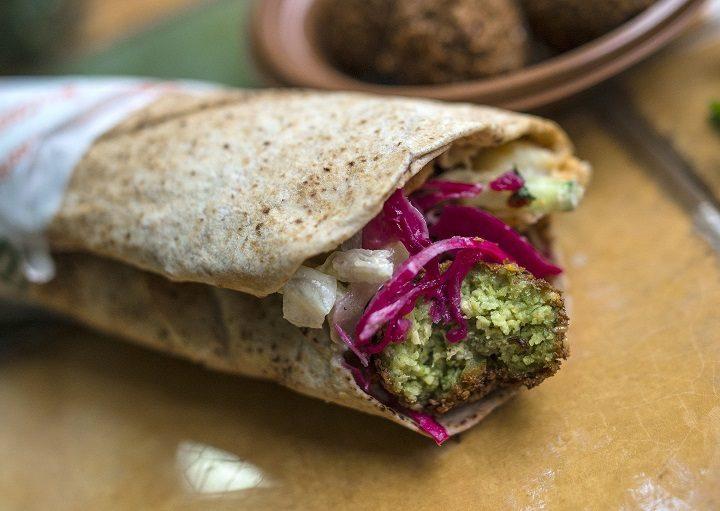 A falafel wrap at Go Falafel