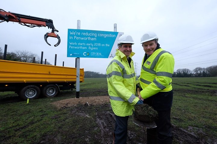 City Deal's Jim Carter with county council leader Geoff Driver at the turf cutting event for the Penwortham Bypass