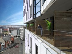 One of the balconies at the new Lofthaus flats