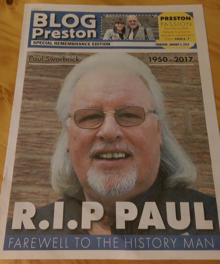 Copy of the special edition of Blog Preston printed for Paul's funeral