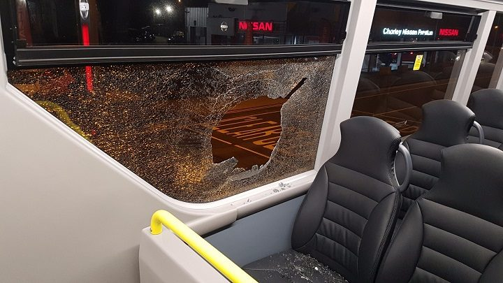 Glass was sent flying across the bus Pic: Preston Police