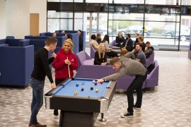 One of the new social spaces on the Preston campus