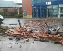 This is what remains of the wall on Saturday morning near the RBS